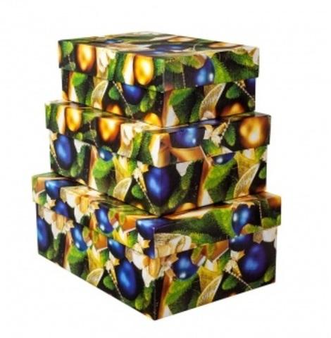 Набор коробок подарочных прямоугольных Новогодние Шары из 3шт, размер: 23х16х9,5 см, золотой/синий