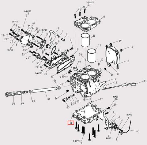Картер двигателя для лодочного мотора F9.8 Sea-PRO (3-11)