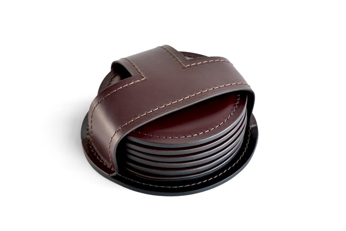 Набор костеров (6 шт) LUXE из кожи Full Grain Bologna Brown