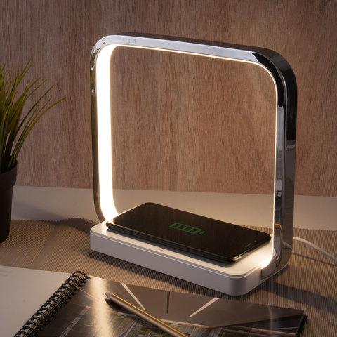 Светодиодная настольная лампа с беспроводной зарядкой QI 80502/1 хром
