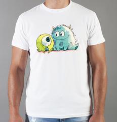 Футболка с принтом мультфильма Корпорация Монстров ( Monsters, Inc,) белая 0019