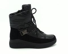 Ботинки зима черного цвета из комбинированного текстиля