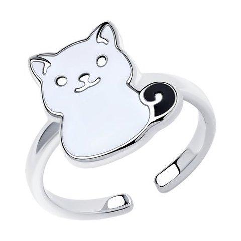 94013187 - Кольцо из серебра с эмалью