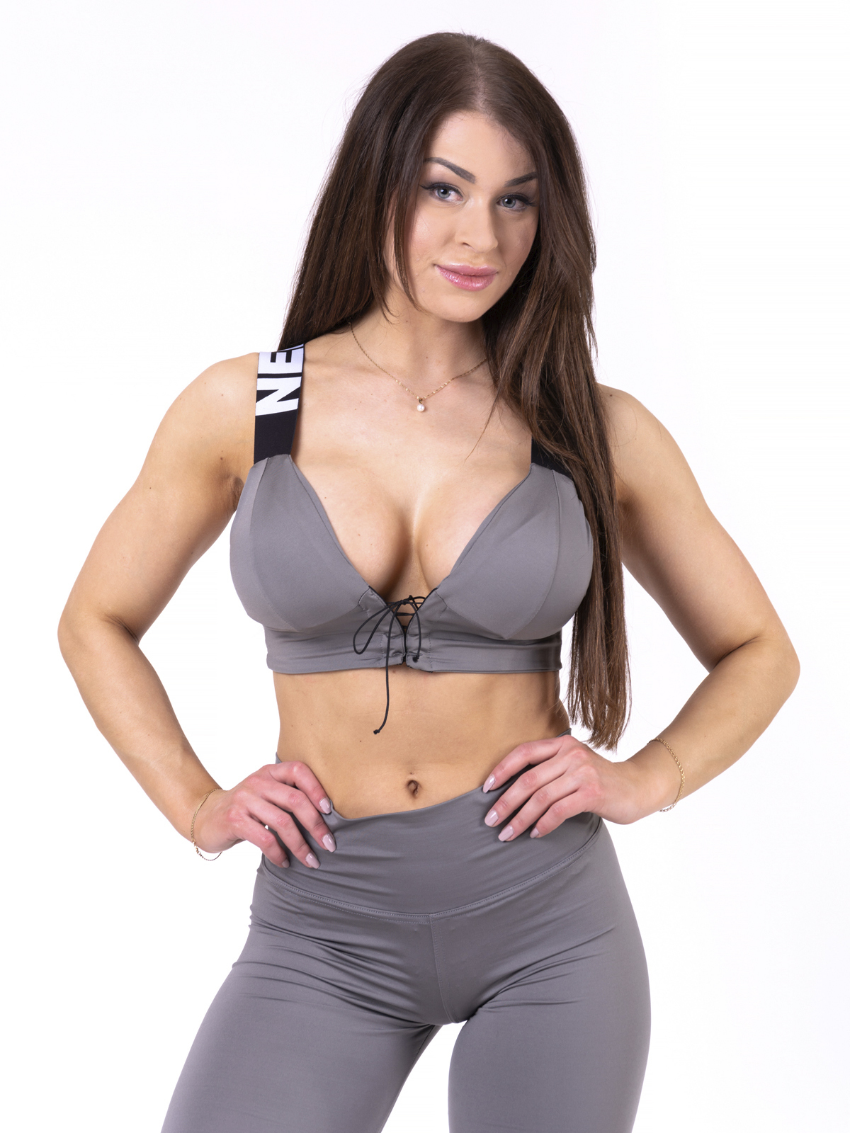 Женский топ Nebbia lace-up sport bra 694 metal