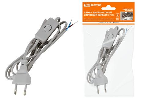 Шнур с выключателем и плоской вилкой ШУ01В ШВВП 2х0,75мм2 2м. серебр. металлик TDM