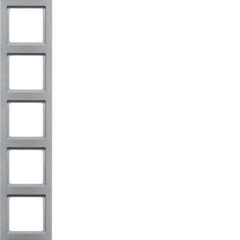 Рамка на 5 постов. Цвет Алюминий. Berker (Беркер). Q.3. 10156094