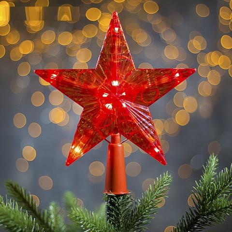 Светящаяся мерцающая Звезда наконечник на ёлку 16х16 см Красная