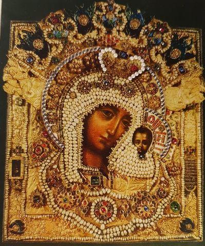 Икона Божией Матери Казанская с Власами с кристаллами Swarovski