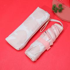 Маленький плоский зонт с защитой от УФ, 6 спиц, Япония (бежевый принт-розовые лебеди)