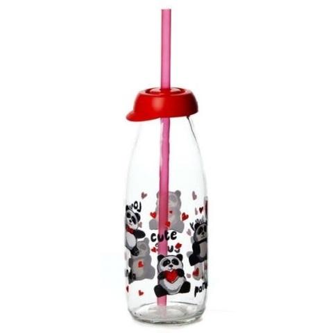 Бутылка детская с трубочкой panda 500 мл