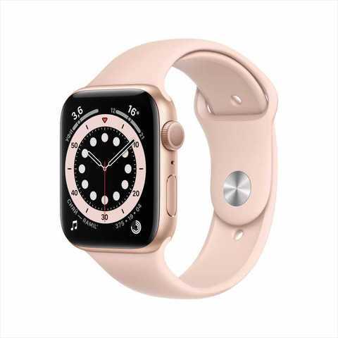 Apple Watch Series 6, 44 мм, корпус из алюминия золотого цвета, спортивный ремешок цвета «розовый песок»та