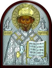 Серебряная с золочением икона святителя Николая Чудотворца (Угодника) 25х19см