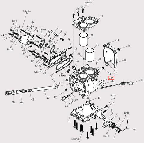 Двигатель в сборе для лодочного мотора F9.8 Sea-PRO (3-15)