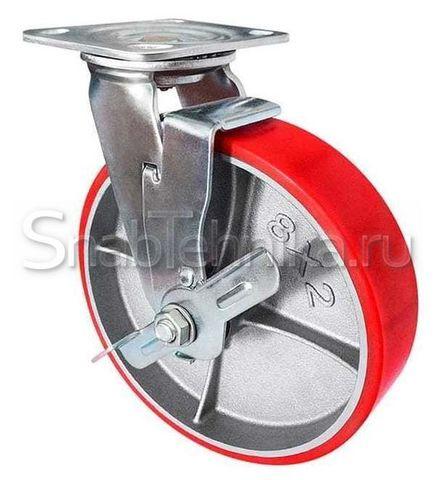 Большегрузная поворотная колесная опора с тормозом SCpb 100 (полиуретан)