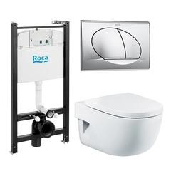 Комплект Roca Meridian инсталляция, подвесной унитаз, кнопка, сиденье