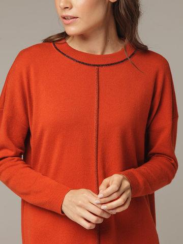 Женский оранжевый джемпер свободного кроя из шерсти и кашемира - фото 9
