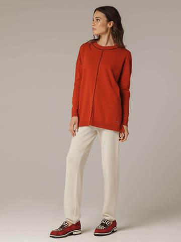 Женский оранжевый джемпер свободного кроя из шерсти и кашемира - фото 8