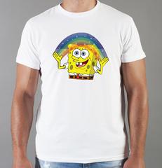 Футболка с принтом мультфильма Губка Боб Квадратные Штаны/ Спанч Боб (SpongeBob SquarePants) белая 0012