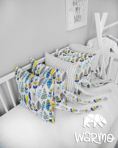 Набір бортиків-подушок в ліжечко 30x30см ПІР'Я