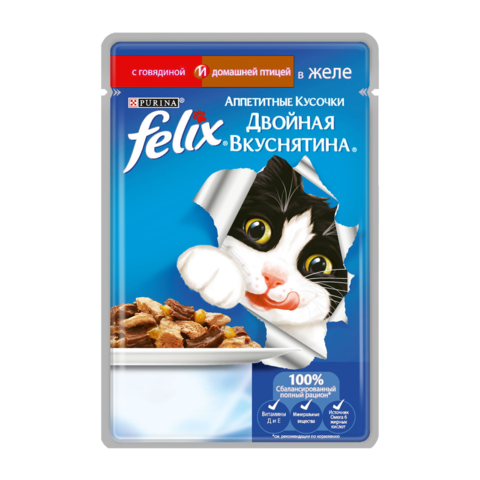 Felix Консервы для кошек Двойная вкуснятина Аппетитные кусочки с говядиной и домашней птицей в желе