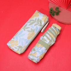Маленький плоский зонт с защитой от УФ, 6 спиц, Япония (принт-цветы: желтый/болотный/голубой)
