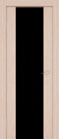 Дверь 3/3  стекло белое/чёрное (орех капучино, остекленная экошпон), фабрика Ладора