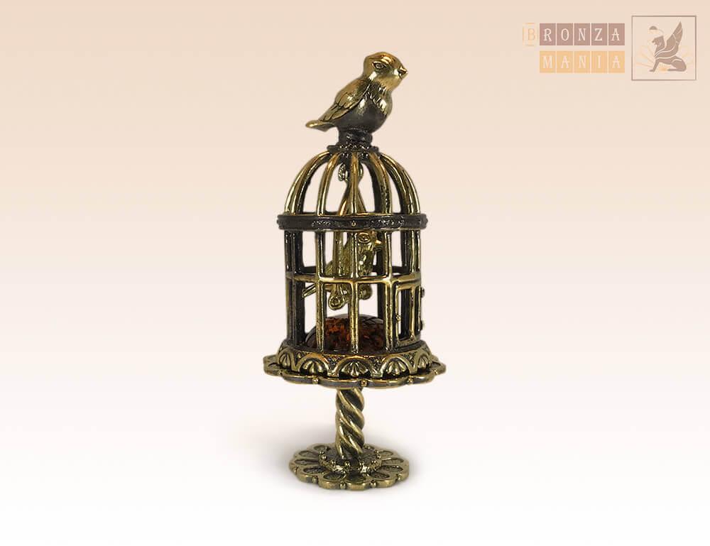 фигурка Птичка в клетке с чижиком