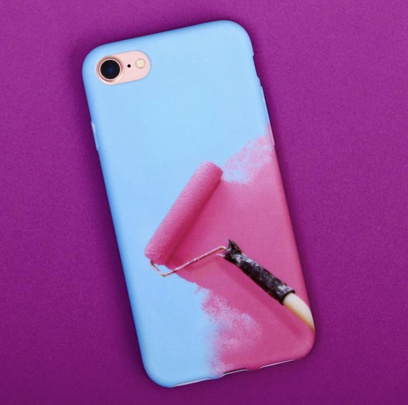 Силиконовый Чехол для телефона iPhone 7 «Раскрась», soft touch цвет: голубой-розовый фото
