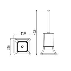 Держатель для туалетной щетки (ершик) настенный KAISER Moderne KH-1036 схема