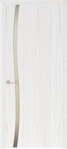 Дверь Буревестник-1 стекло белое (ясень белый жемчуг, остекленная шпонированная), фабрика Океан