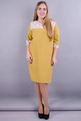 Эвелин. Женское платье больших размеров. Горчица.