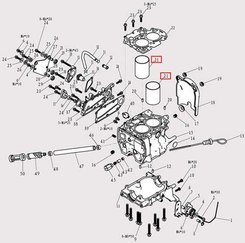 Гильза цилиндра Φ52*Φ63*76 для лодочного мотора F9.8 Sea-PRO (3-21)