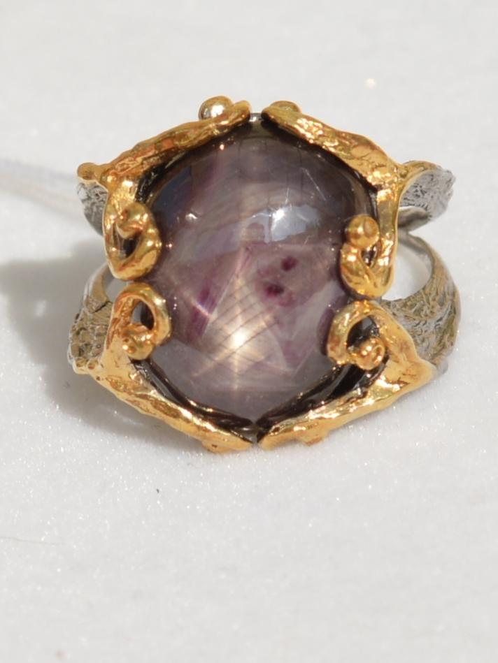 Затея-зв.корунд(серебряное кольцо с позолотой)