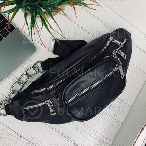 Модная сумка на пояс женская Чёрная