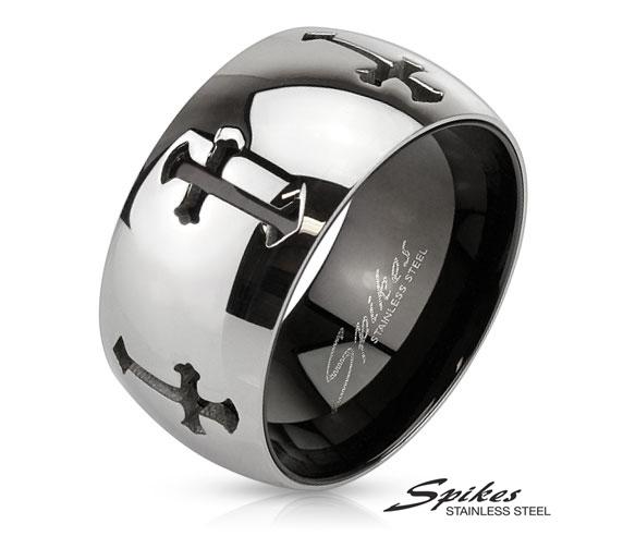 R-M3289 Широкое мужское кольцо из стали с крестами, «Spikes»