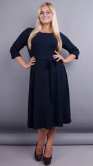 Кора. Элегантное платье плюс сайз. Синий.