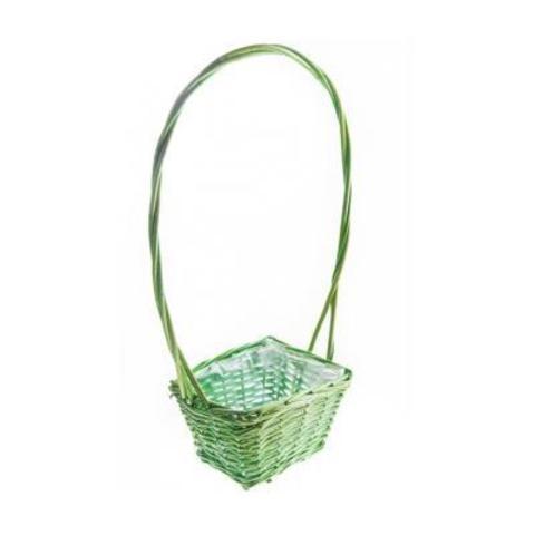 Корзина плетеная, 19х14х10/12х50см, зеленый