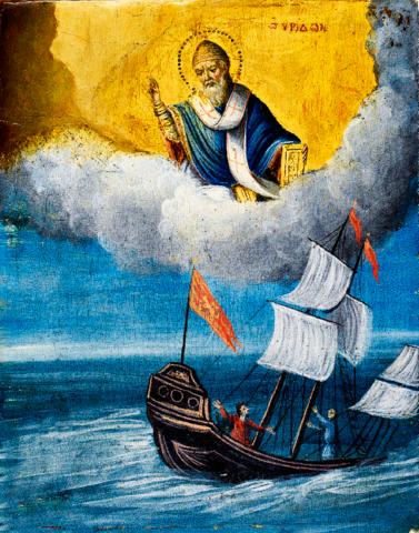 Икона святой Спиридон Тримифунтский Спасение на море на дереве на левкасе мастерская Иконный Дом