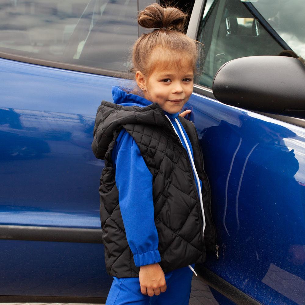 Детский стеганный жилет унисекс синего цвета