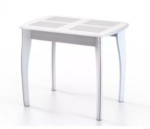Стол обеденный Домино-1 раскладной с плиткой белое дерево, домино белый