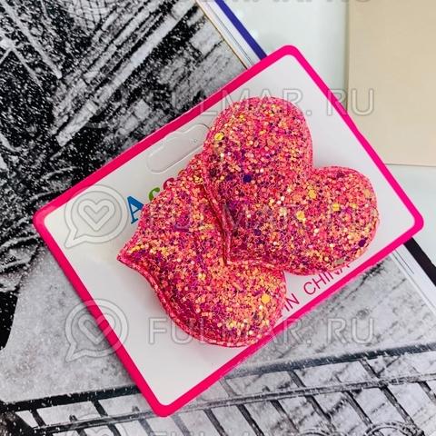 Резинки для волос блестящие Большие Сердца Коралловые 2 шт.