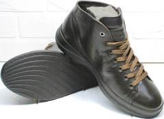 Высокие осенние кроссовки кеды с черной подошвой Ikoc 1770-5 B-Brown.