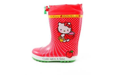 Резиновые сапоги для девочек утепленные Хелло Китти (Hello Kitty), цвет красный. Изображение 3 из 11.