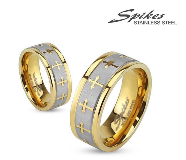 R-S1419-8 Мужское кольцо золотого цвета из стали с крестами, «Spikes»