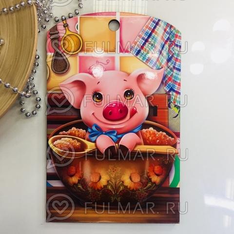 Доска разделочная деревянная Новогодняя декоративная Свинка с икрой