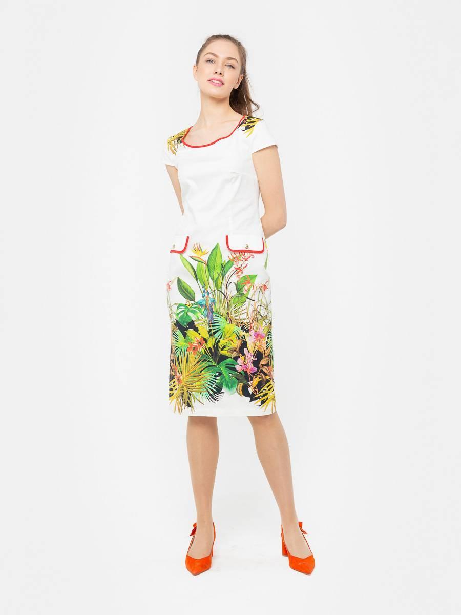Платье З101-538 - Летнее платье приталенного силуэта из хлопка с небольшим добавлением эластана. Оно прекрасно держит форму, удобно в повседневном ношении и дает коже возможность дышать. Отличный вариант для офиса и повседневного гардероба.