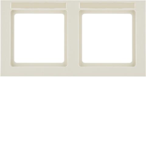 Рамка на 2 поста с полем для надписей горизонтальная. Цвет Бежевый. Berker (Беркер). Q.3. 10226092