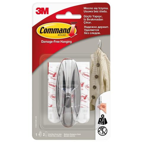 Крючок Command хромированный нагрузка до 1.35 кг (1 штука + 2 клейких полоски)