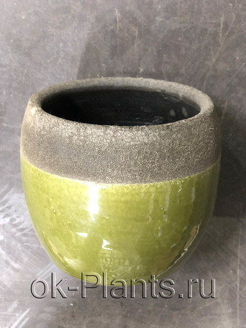 Кашпо Керамика зелено-коричневое