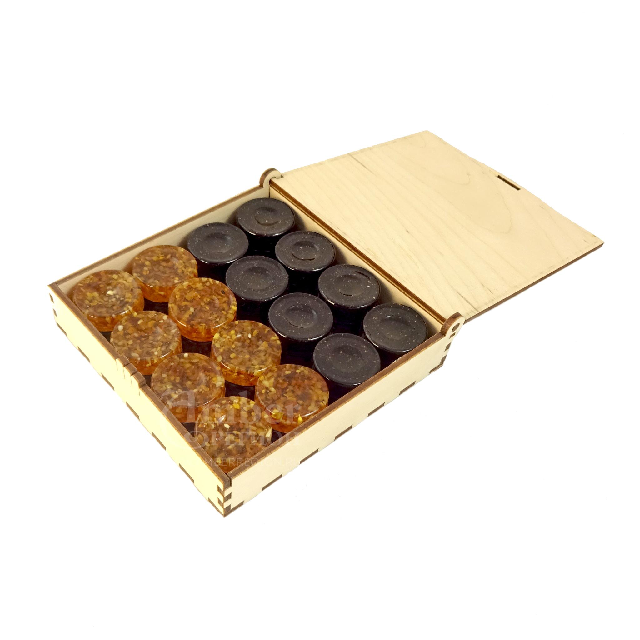 Шашки-нарды (цвет светлый чай - чёрный янтарь) 5 комплектов